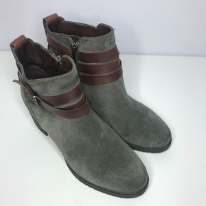 Sam Edelman Grey Suede Booties Brown Straps 7.5